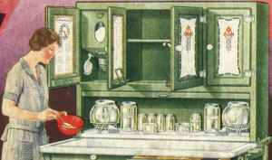An advertisement for the Hoosier cabinet circa 1930s