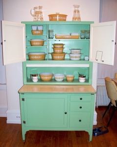 Aqua painted Hoosier with Pyrex bowls